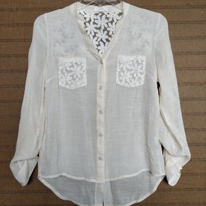Semi-sheer ivory blouse with lace from MINE